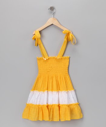 Yellow & White Sequin Convertible Dress - Toddler & Girls