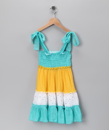 Aqua & Yellow Color Block Tie Dress - Toddler & Girls