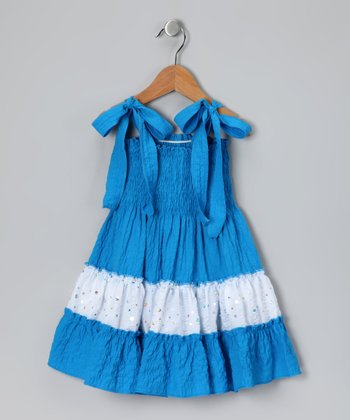 Blue & White Sequin Tie Dress - Toddler & Girls