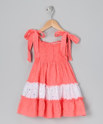 Coral & White Sequin Convertible Dress - Toddler & Girls