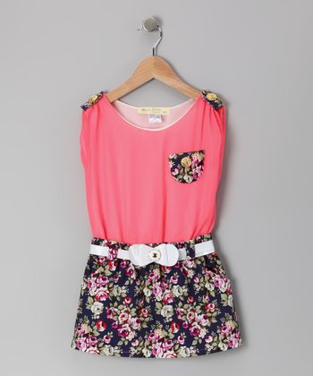 Navy & Coral Floral Belted Dress - Toddler & Girls