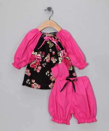 Fuchsia Floral Peasant Top & Bloomers - Infant