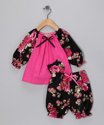 Black & Pink Floral Peasant Top & Bloomers - Infant