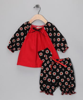 Black & Red Floral Peasant Top & Bloomers - Infant