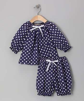 Blue & White Polka Dot Peasant Top & Bloomers - Infant