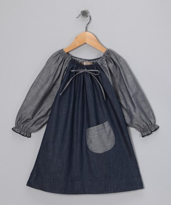 Gray & Denim Blue Peasant Dress - Toddler & Girls