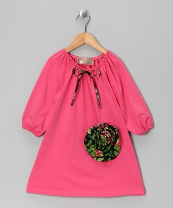 Pink Rosette Peasant Dress - Toddler & Girls