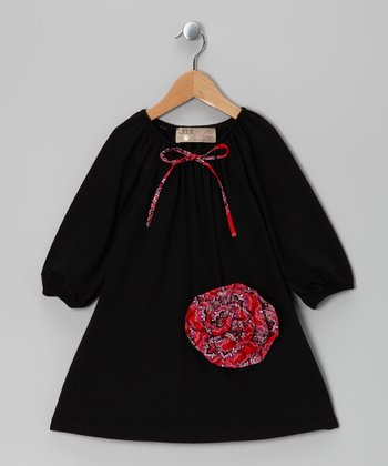 Black Rosette Peasant Dress - Toddler & Girls