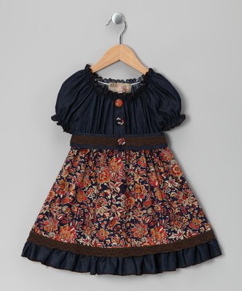 Brown Denim Floral Dress - Toddler & Girls