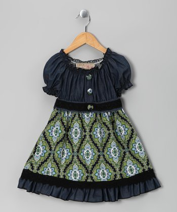 Green & Blue Denim Floral Dress - Toddler & Girls