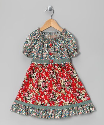 Gray & Red Floral Dress - Toddler & Girls