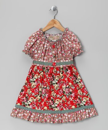 Pink & Red Floral Dress - Toddler & Girls