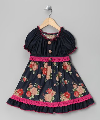 Fuchsia Denim Floral Dress - Toddler & Girls