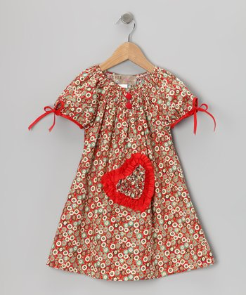 Red Smocked Heart Dress - Toddler & Girls