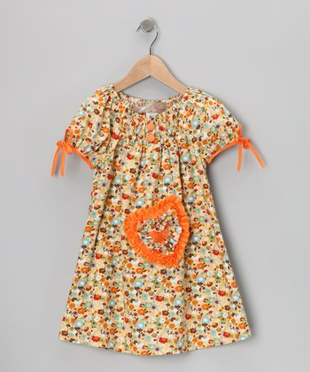 Orange Shirred Heart Dress - Toddler & Girls