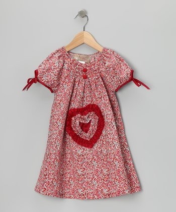 Burgundy Smocked Heart Dress - Toddler & Girls