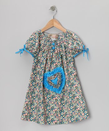 Blue Shirred Heart Dress - Toddler & Girls
