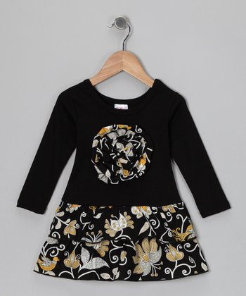 Black & Yellow Floral Rosette Ruffle Dress - Toddler & Girls