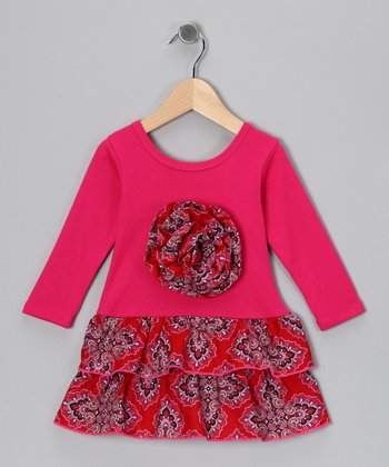 Fuchsia & Red Floral Rosette Ruffle Dress - Toddler & Girls