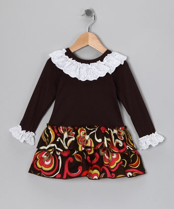Brown Lace Ruffle Dress - Toddler & Girls