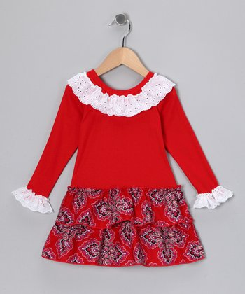 Red Lace Ruffle Dress - Toddler & Girls