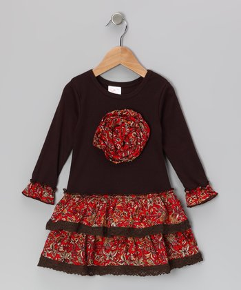 Brown & Red Floral Rosette Ruffle Dress - Toddler & Girls
