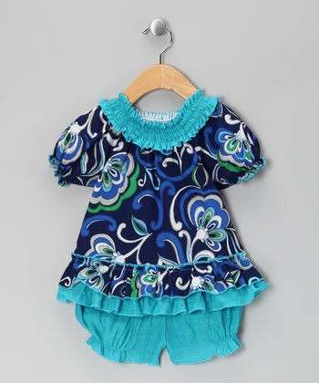 Blue & Turquoise Floral Smocked Top & Bloomers - Infant