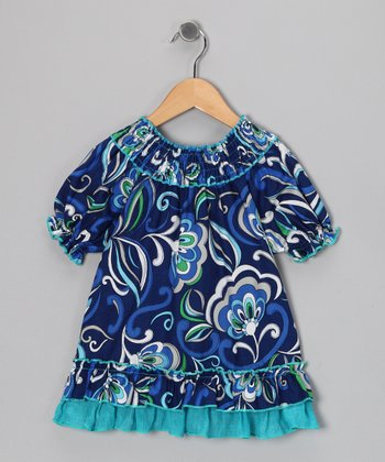 Blue Floral Smocked Ruffle Dress - Toddler & Girls