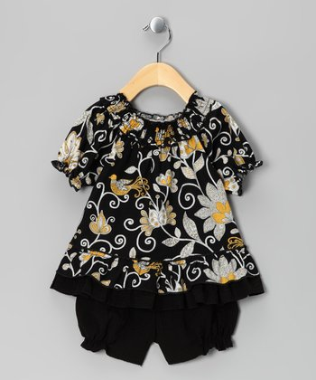 Black Floral Smocked Top & Bloomers - Infant