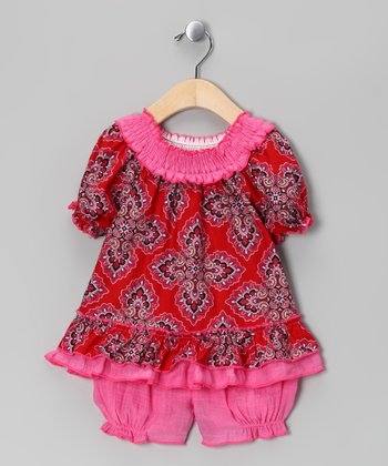 Red & Pink Paisley Peasant Top & Bloomers - Infant
