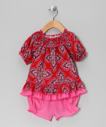 Red Paisley Peasant Top & Bloomers - Infant