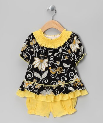 Black & Yellow Floral Peasant Top & Bloomers - Infant