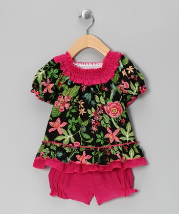 Green & Fuchsia Floral Peasant Top & Bloomers - Infant