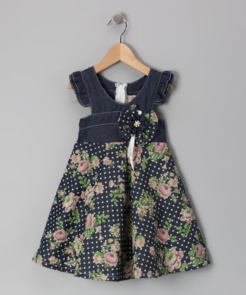 Denim & Green Floral Angel-Sleeve Dress - Toddler & Girls