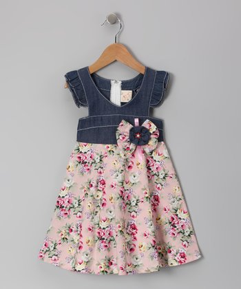 Denim & Light Pink Floral Angel-Sleeve Dress - Toddler & Girls