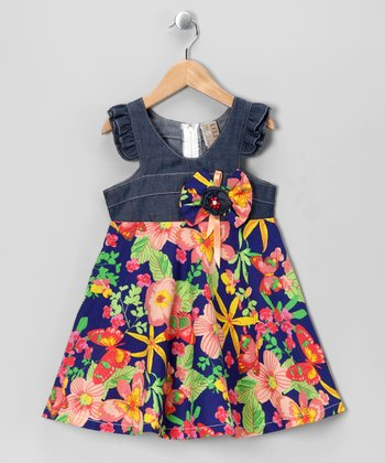Blue & Yellow Floral Angel-Sleeve Dress - Toddler & Girls