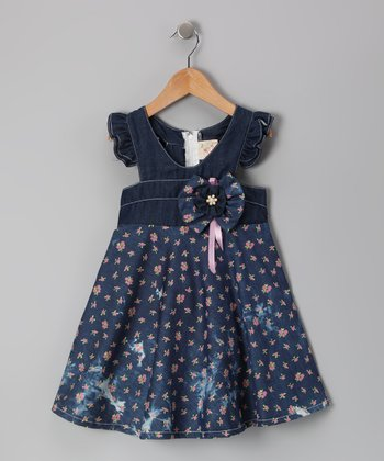 Denim & Blue Floral Angel-Sleeve Dress - Toddler & Girls