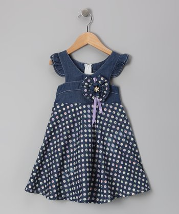 Denim & Lavender Pebble Angel-Sleeve Dress - Toddler & Girls