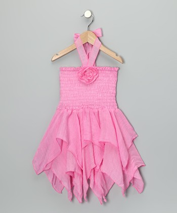 Lele for Kids Pink Smocked Handkerchief Dress - Toddler & Girls