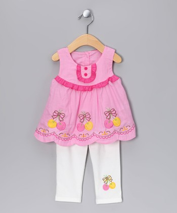 Pink Babydoll Tunic & White Leggings - Infant, Toddler & Girls