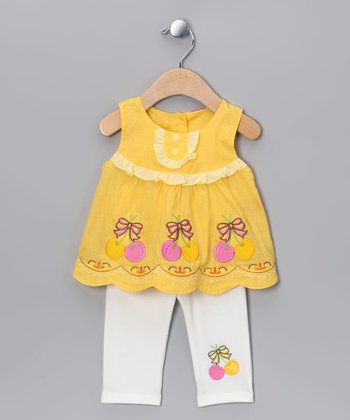 Yellow Babydoll Tunic & Capri Pants - Infant, Toddler & Girls