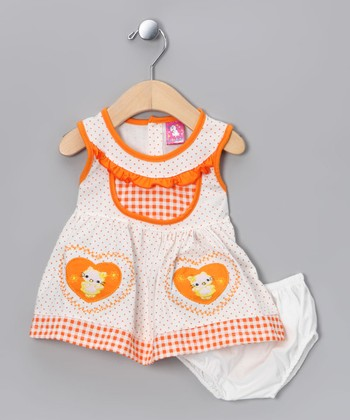 Orange Kitty Dress & Diaper Cover - Infant