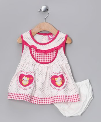 Pink Kitty Dress & Diaper Cover - Infant