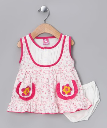 Pink Flower Dress & Diaper Cover - Infant