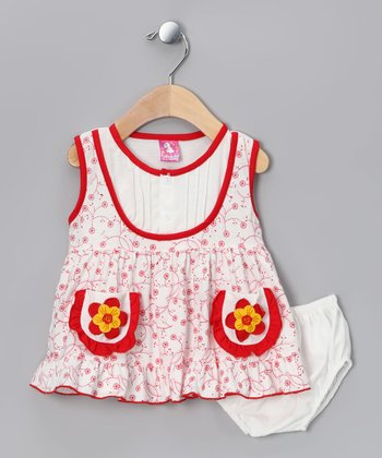 Red Flower Dress & Diaper Cover - Infant