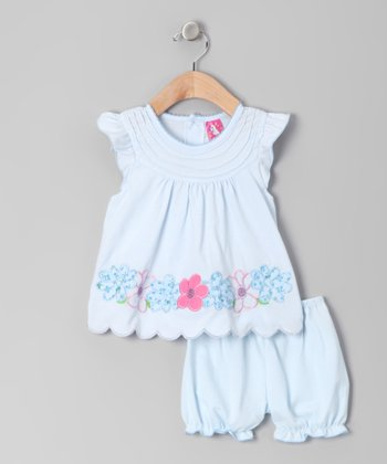 Light Blue Floral Scalloped Dress & Bloomers - Infant