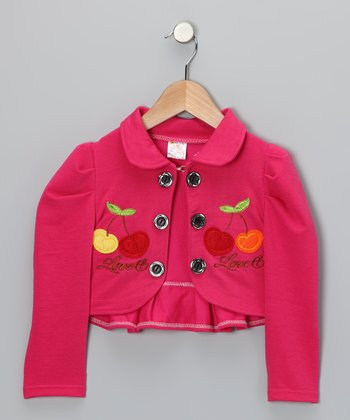 Fuchsia Cherry Bolero - Infant, Toddler & Girls
