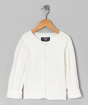 White Pearl Cardigan - Toddler & Girls