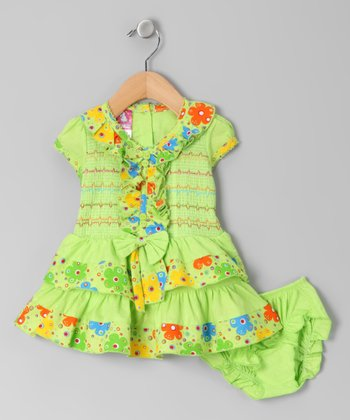 Green Ruffle Shirred Dress & Diaper Cover - Infant