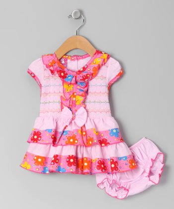 Pink Ruffle Shirred Dress & Diaper Cover - Infant